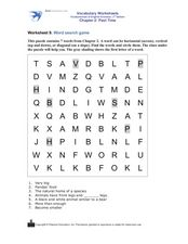 Word Search Game: Past Time Worksheet