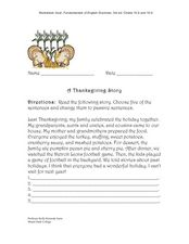 A Thanksgiving Story Worksheet