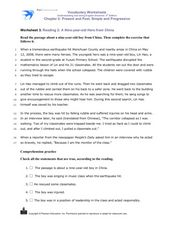Reading 2: A Nine-year-old Hero from China Worksheet
