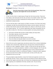 Reading 1: Rescue Ink Worksheet
