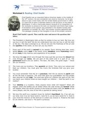 Reading: Chief Seattle Worksheet