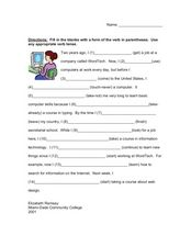 Fill in the Blank: Verb Tense Worksheet