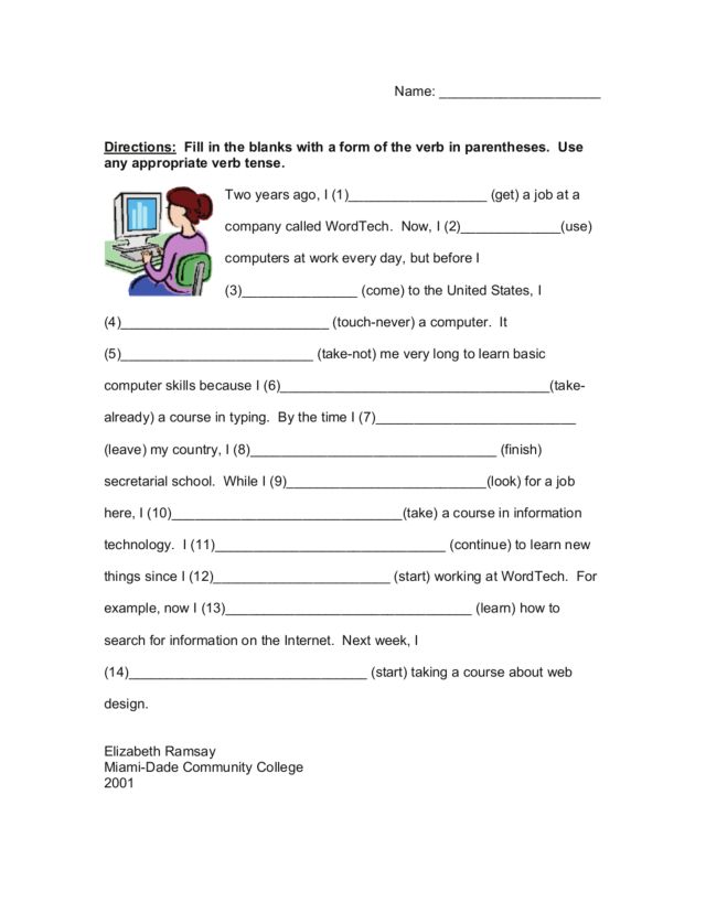 Fill in the Blank Verb Tense 3rd 5th Grade Worksheet – Verb Tense Worksheets 5th Grade