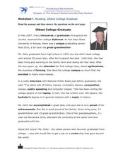 Reading: Oldest College Graduate 2007 Worksheet