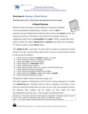 Reading: A Book Review Worksheet