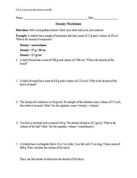 Density Worksheet Worksheet For 6th 8th Grade Lesson