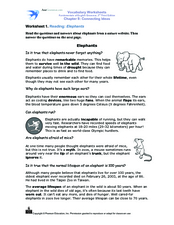 Reading Comprehension: Elephants Worksheet