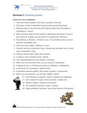 Vocabulary Practice Worksheet Worksheet