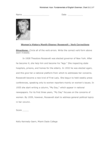 Women's History Month Eleanor Roosevelt : Verb Corrections Worksheet