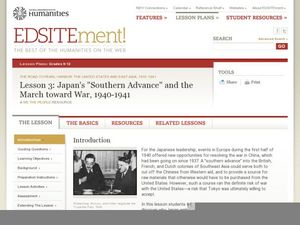 "Lesson 3: Japan's ""Southern Advance"" and the March toward War, 1940-1941 Lesson Plan"