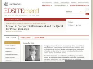Lesson 1: Postwar Disillusionment and the Quest for Peace, 1921-1929 Lesson Plan