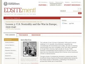 Lesson 3: U.S. Neutrality and the War in Europe, 1939-1940 Lesson Plan