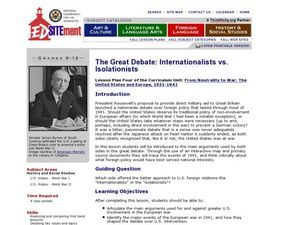 The Great Debate: Internationalists vs. Isolationists Lesson Plan