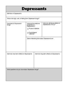 Depressants Worksheet