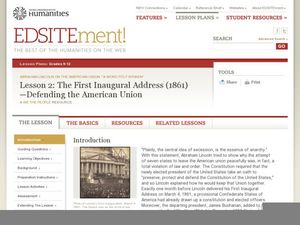 Lesson 2: The First Inaugural Address (1861)—Defending the American Union Lesson Plan
