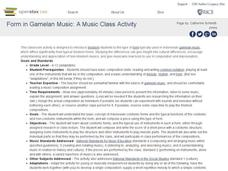 Form in Gamelan Music: A Music Class Activity Lesson Plan