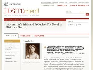 Jane Austen's Pride and Prejudice: The Novel as Historical Source Lesson Plan