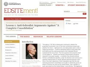 Anti-federalist Arguments Against: A Complete Consolidation Lesson Plan