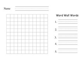 Word Wall Word: Graphic Organizer Worksheet