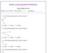 Acute, Right or Obtuse Worksheet