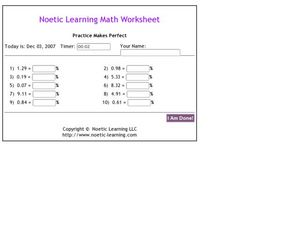 Decimals to Percents Worksheet
