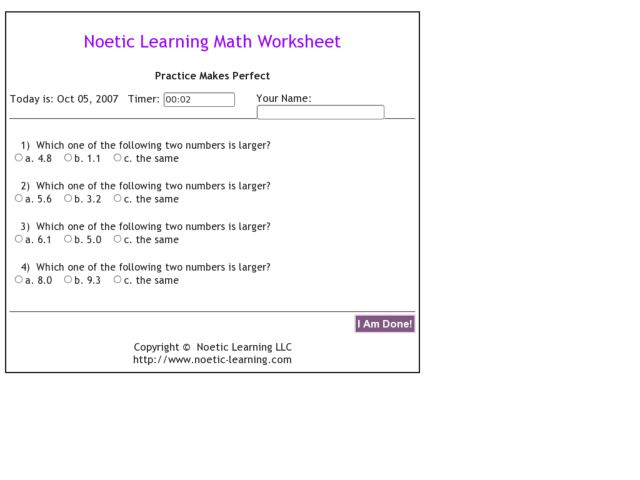 Noetic Learning Math Worksheet Practice Makes Perfect Worksheet
