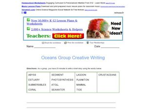 Oceans Group Creative Writing Worksheet