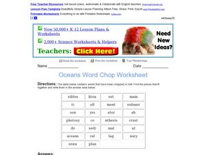 Word Chop: Oceans Worksheet