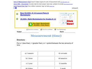 Time and Metric Measurements Worksheet
