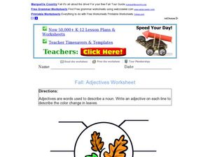 Adjectives About the Fall Season Worksheet