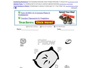 P is for Pillow: Letter P Worksheet