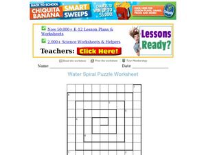 Water Spiral Puzzle Worksheet
