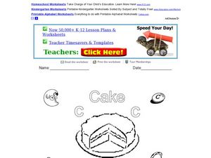 C is for Cake: Letter C Worksheet