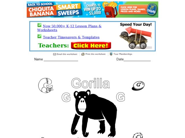 gorilla the letter g worksheet for pre k 1st grade lesson planet. Black Bedroom Furniture Sets. Home Design Ideas