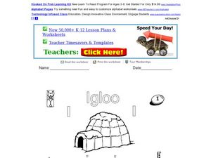 The Letter I: Igloo Worksheet
