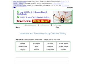 Hurricane and Tornadoes Group Creative Writing Worksheet