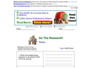 Do the Research! Plants Worksheet