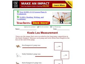 Koala Lou Measurement Worksheet