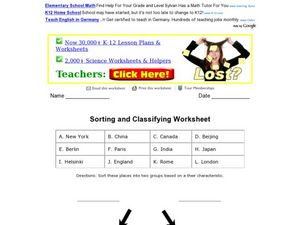 Sorting and Classifying Places Worksheet