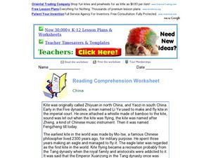 Reading Comprehension Worksheet: China Worksheet