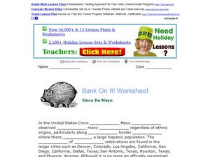 Bank On It! Worksheet Cinco de Mayo Worksheet