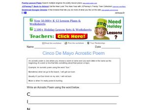 Cinco De Mayo Acrostic Poem Worksheet