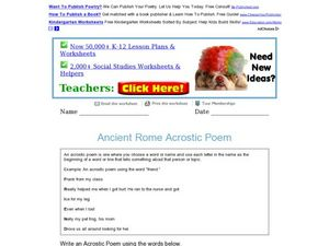 Ancient Rome Acrostic Poem Worksheet