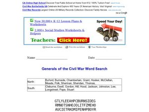 Generals of the Civil War: Word Search Worksheet