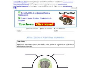 Africa: Elephant Adjectives Worksheet Worksheet