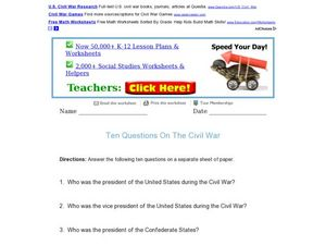 Ten Questions on the Civil War Worksheet