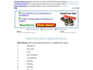 Black History Month Spelling Activity Worksheet