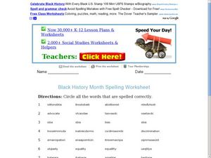 Black History Month Spelling Worksheet Worksheet