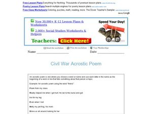 Civil War Acrostic Poem Worksheet