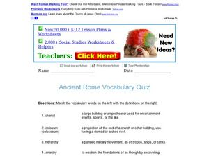 Ancient Rome Vocabulary Quiz Worksheet